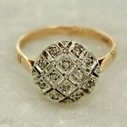 14k Yellow Gold And Rose Cut Diamond Cluster Antique Style Size 5 6 7 8 9 Ring