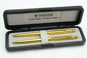 Parker 75 Classic Grand D'orge Ball Point Pen And Pencil Set Of 2 Go Njl018546