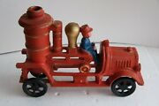 Vintage Cast Iron Fire Truck 8 Inch Older Reproduction Maker Unknown