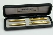 Parker 75 Classic Grand D'orge Ball Point Pen And Pencil Set Of 2 Go Njl018547
