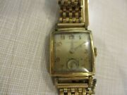 Hamilton Watch Antique Rectangle Face Stem Wind Gold Filled. Keeps Good Ti