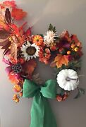 Fall Colors With A White Pumpkin Wreath