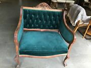 Antique Victorian Carved Wood Settee Love Seat 33andrdquo Wide 39andrdquo Tall Vtg Beautiful