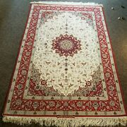 5.6x8.4' Collectble Hnd Knotted Ortl Signed Orignal Vintage Silk On Wool Rug W53