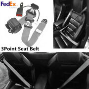 Us 3 Point Retractable Car Safety Seat Belts Lap For Auto Cars W/ Warning Cable