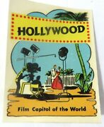 Original Vintage Decal Hollywood Film Capitol Of The World- Rare