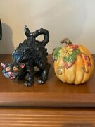 Fitz And Floyd Halloween Harvest Cat And Pumpkin Salt And Pepper Shakers Mint
