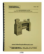 General Model 260 Wood Lathe 12 Op, Maintenance And Parts List Manual 1759