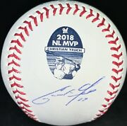 Christian Yelich Autographed Signed 2018 Nl Mvp Omlb Brewers Usa Sm Beckett
