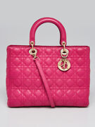 Christian Dior Pink Cannage Quilted Lambskin Leather Large Lady Dior Tote Bag