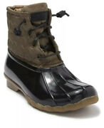 Nib Sperry Saltwater Quilted Duck Boots Olive Sz 6
