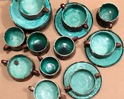 Mexican Ceramic Hand Painted Hot Chocolate Mugs Bowls Plates Eggplant Green