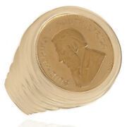 1/10 Oz Krugerand Gold Coin Ring 14k Yellow Gold