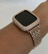 Apple Watch Band Rose Gold And Or Lab Diamond Bezel Cover Bling 38mm 40 42 44mm R7