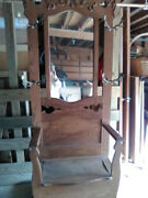 Antique Hall Seat Coat Tree Stand With Mirror Storage Bench Oak Rare
