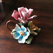 Capodimonte Italian Porcelain Flower Candlestick Holder With Handle