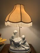 """31"""" Victorian Porcelain Marbro Lamp Co. Figural Boy And A Girls Picking Flowers"""