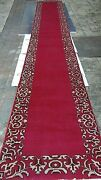 Antique Indo-meshad Handwoven 100 Wool Long Runner Red Color Ornamental Border