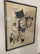 Jerry Bingham Pen And Ink W.c. Fields, 23x29 Framed Behind Glass 1986