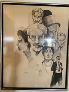 Groucho Marx Pen And Ink Drawing By Artist Jerry Bingham, Framed, Glass, 1986