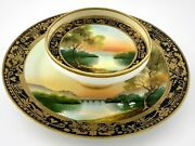 Hand Painted Nippon Double Tier 2 Tier Plate Pedestal Tray Gold Accents R904