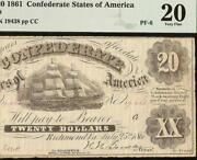1861 20 Double Treasr Confederate States Note Civil War Currency T9 Pf-6 Pmg 20