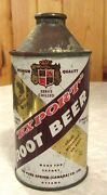 Early 1950and039s Pure Spring Export Root Beer Cone Top Soda Pop Can Canada
