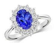 Tanzanite And Diamond Ring 18k White Gold Cluster Aaa Grade Certificate 1.76ctw