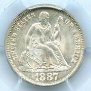 1887 Liberty Seated Dime Pcgs Ms65
