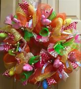 Easter Deco Mesh Wreath 'pink Bunnies And Decorated Eggs Ribbon And Lace Handmade