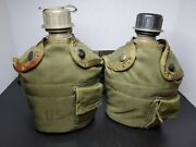 Vintage U.s Army Plastic Canteens W/covers + 1 Belt