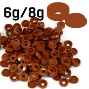 Mahagony Wood Brown Plastic Screw Cover Caps Hinged Fold Over Size 6g/8g Gauge