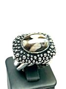 Dian Malouf Sterling Silver And Rare Peanut Wood Ring