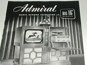 1949 Admiral Television Advertisement, 16 Inch Bandw Tv Record Player Console