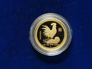 🌟2005 Year Of The Rooster 1/10 Oz 15 Proof Gold Lunar Perth Mint Coin