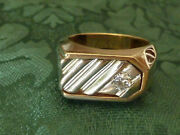 14kt Yellow And White Gold Italian Custom Made Diamond Mens Ring Approx Size 9 1/2