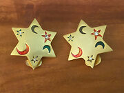 Vintahe Wicca Magic 6 Point Star Gold Tone Clip On Earrings Moons Sky Night