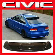 Fits 1996-2000 Civic 2dr Coupe Rear Roof Window Visor Spoiler Wing With Brackets