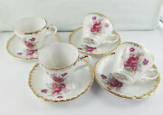 Rare Antique Lefton Hand Painted Fine China Made In Japan Cup And Saucer Duos X 4