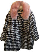 Alice Temperley Girlandrsquos Coat Aged 5 Andpound45 Black And White With Pink Fur Collar