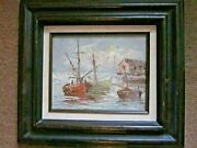 Vintage Fishing Boat Harbor Signed Oil Painting Canvas