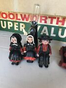 Lot Of 6 Cast Iron Amish Figurines With Timer Wagon Vintage Antique Wilton