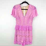Ryse The Label Pink Lace Romper Size S
