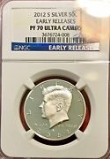 2012 S Silver Kennedy Half Dollar Proof Ngc Pf-70 Ultra Cameo Early Release