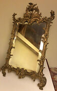 """Antique 19th C. Ornate Rococo Gilded Cast Iron Easel Beveled Glass Mirror 15"""""""