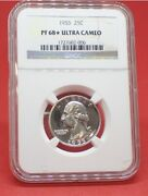 1955 Ulta Cameo Proof 68 Gem Washington Qtr - This Is An Amazing Coin