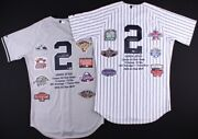 Set Of 2 Derek Jeter Signed Le Yankees Majestic Authentic Home And Away Careerle