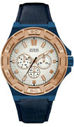 Orologio Uomo Guess Watches Gents Force W0674g7 Di Pelle, Blu