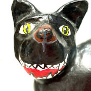 Vintage Halloween Cat Hand Made Paper Mache Large 18