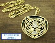 18k Yellow Gold Diamond And Onyx Tiger Pendant And 30 Chain. 5.10cts Only 6490
